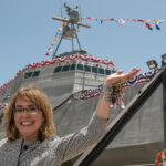 Bizarre Upside Down Cracked In Half Presentation Of USS Gabrielle Giffords Warship